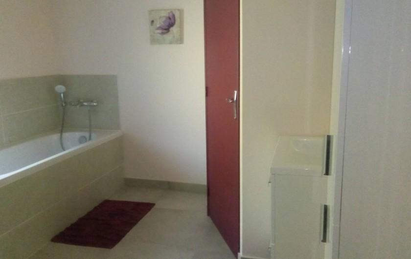 Location de vacances - Gîte à Saint-Romain-sur-Cher - Salle de bain avec douche et baignoire Un placard avec lave-linge , sèche-linge