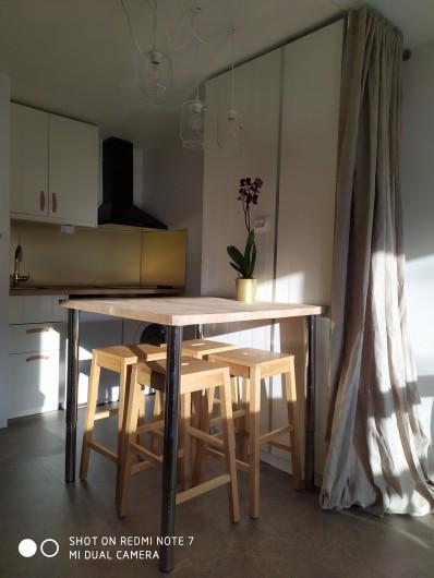 Location de vacances - Studio à Saint-Lary-Soulan - coin-repas ensoleillé (hiver)