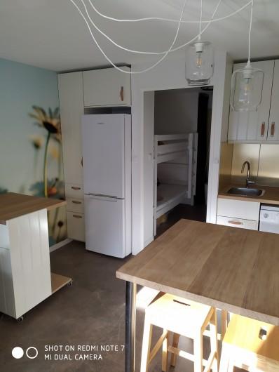 Location de vacances - Studio à Saint-Lary-Soulan - coin-cuisine avec frigo-congélateur (300l) et placards
