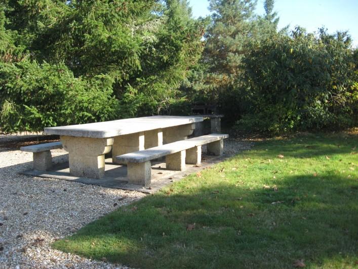 Location de vacances - Gîte à Souesmes - table de jardin avec grand barcecue