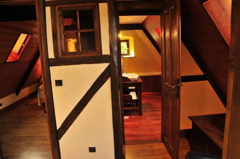 Location de vacances - Gîte à Clohars-Carnoët - Vue de la mezzanine: à gauche la chambre, à droite la salle de bain