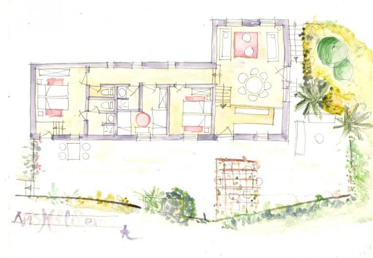 Location de vacances - Gîte à Grane - Esquisse en plan du Gîte APIS MELLIFERA