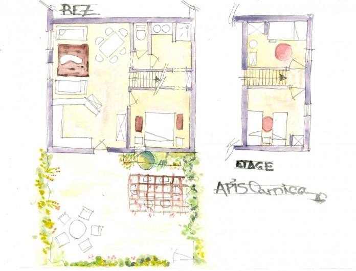 Location de vacances - Gîte à Grane - Esquisse en plan du Gîte APIS CARNICA