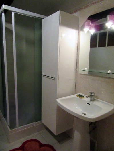 Location de vacances - Gîte à Bussac - Salle d'eau avec cabine de douche et toilette et placard de rangements