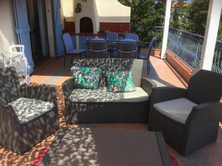 Location de vacances - Villa à Anthéor - Terrasse vue mer.