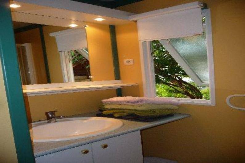 Location de vacances - Chalet à Saint-Leu - salle de bain vue jardin