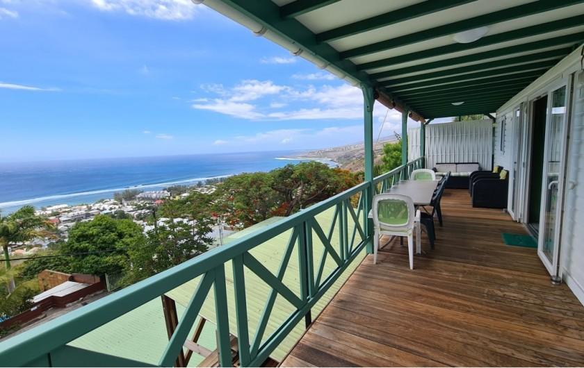 Location de vacances - Chalet à Saint-Leu - veranda vue sur ocean indien