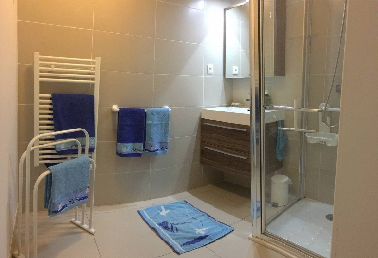 Location de vacances - Appartement à Sanary-sur-Mer - CAP SUD - la salle de douche. En option : location du linge de toilette