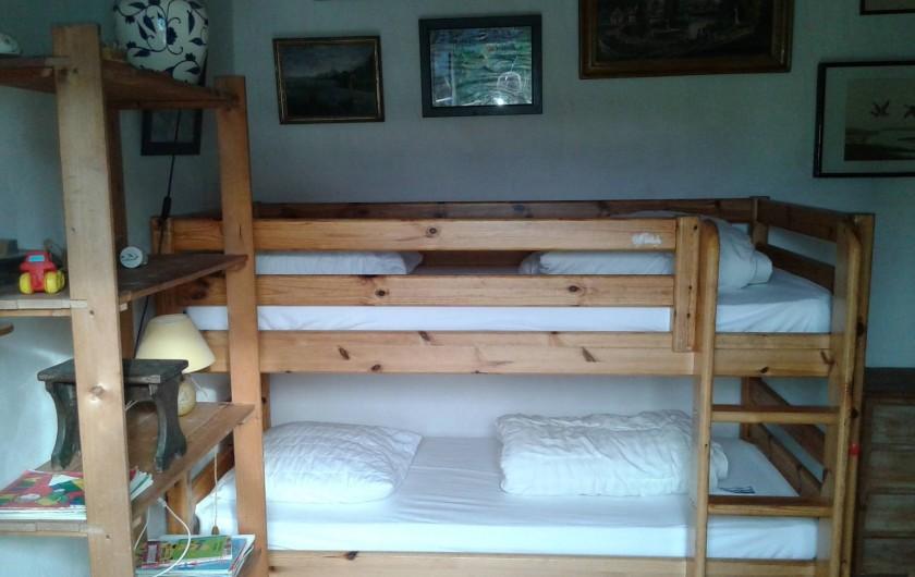Location de vacances - Maison - Villa à Saint-Clément-des-Baleines - chambre 3 .  deux  lits de 90 superposés et un lit bateau de 90