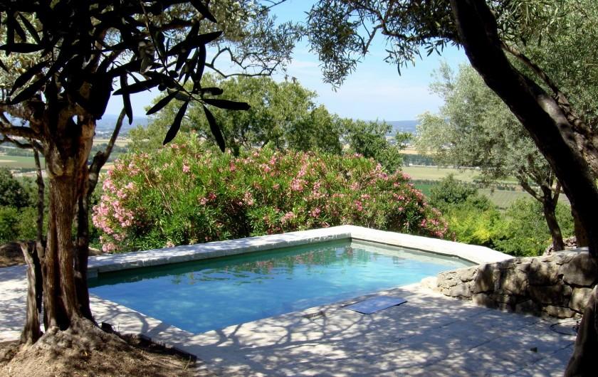Location de vacances - Gîte à La Garde-Adhémar - Vue sur la piscine parmi les oliviers