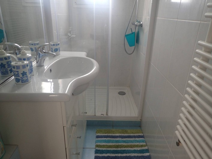 Location de vacances - Villa à Saint-Hilaire-de-Riez - salle d'eau avec une petite fenêtre,  sa douche et vasque ,
