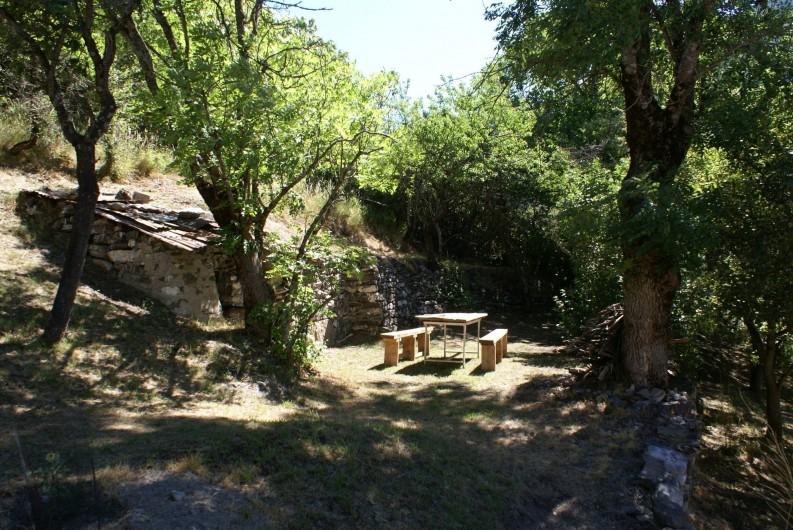 Location de vacances - Chalet à Saint-Paul-sur-Ubaye - table et banc  (espace petit bois )