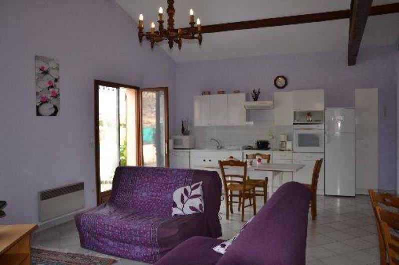 Location de vacances - Gîte à Odenas - le coin salon et coin cuisine gite domaine du barvy