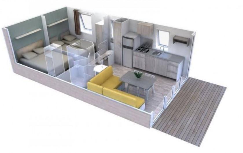 """Location de vacances - Camping à Brem-sur-Mer - Mobil home """"Confort"""" terrasse couverte"""