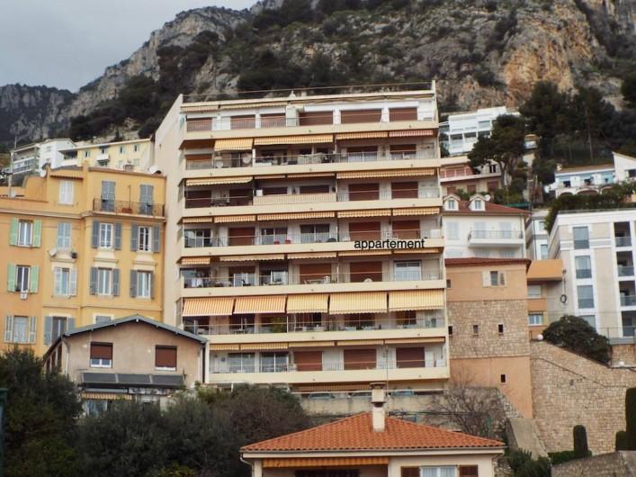 Location de vacances - Appartement à Roquebrune-Cap-Martin - facade sud coté mer