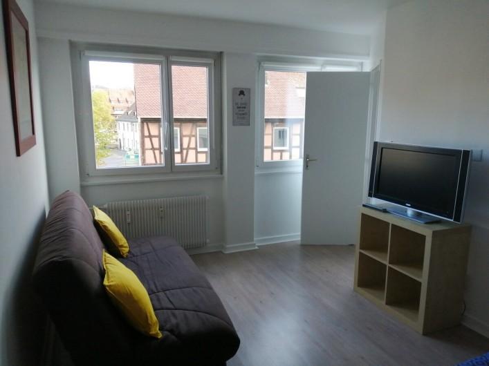 Location de vacances - Appartement à Colmar - séjour avec canapé, tv, et 1 lit double, wifi gratuite
