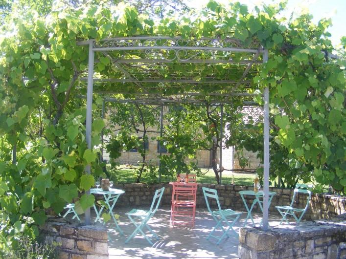 Location de vacances - Gîte à Saint-Antonin-Noble-Val - Une tonnelle ombragée