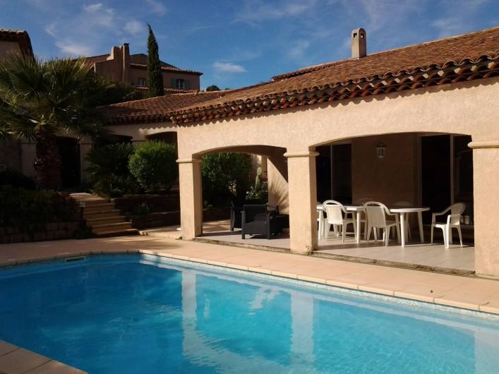 Location de vacances - Villa à Sainte-Maxime - Terrasse du séjour et piscine