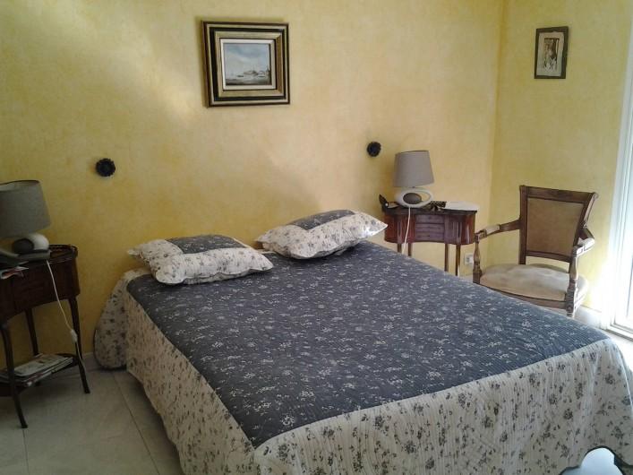 Location de vacances - Villa à Sainte-Maxime - Chambre parentale donnant sur la piscine