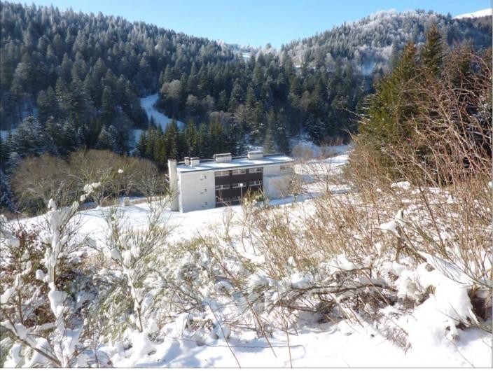 Location de vacances - Studio à Le Lioran - Immeuble et derrière , une des pistes de ski