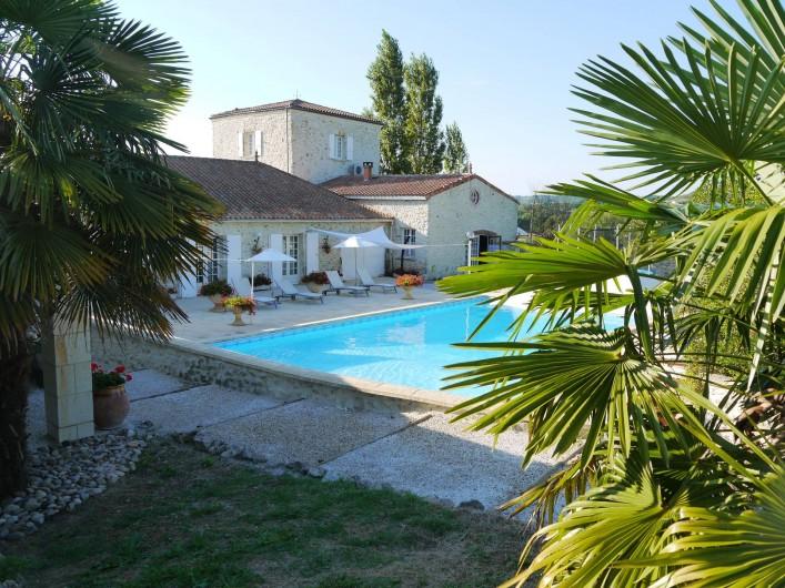 Location de vacances - Chambre d'hôtes à Pailloles - Vue d'ensemble et la piscine de jour