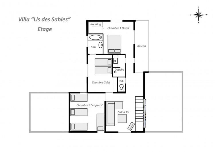 Location de vacances - Villa à Vielle-Saint-Girons - Plan agencement de l'étage
