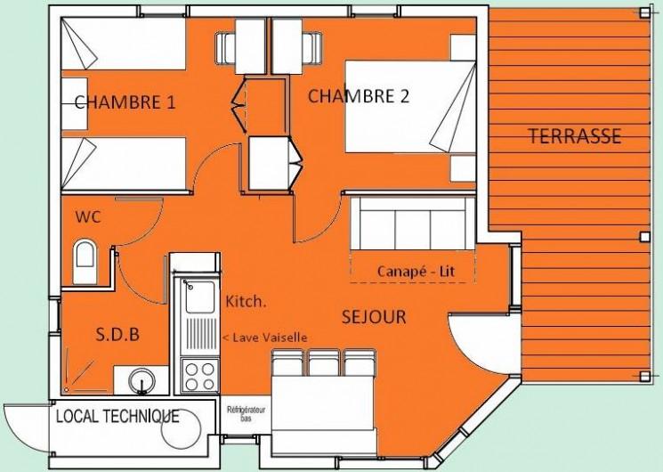 Location de vacances - Chalet à Boisset - Plan du chalet