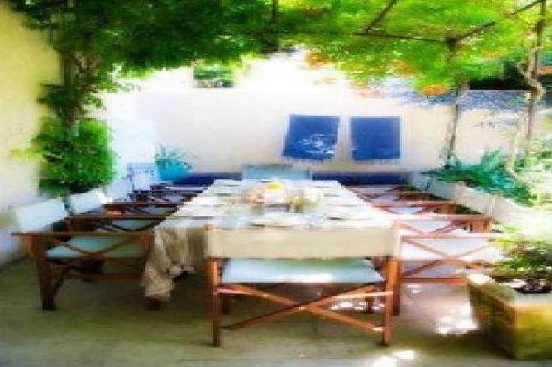 Location de vacances - Chambre d'hôtes à Riez - déjeuners sous la tonnelle