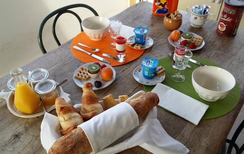 """Location de vacances - Villa à Lamonzie-Saint-Martin - Exemple de petit déjeuner servi en """"formule chambre d'hôtes"""" dans la villa"""