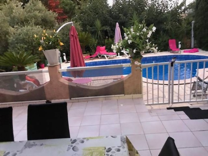 Location de vacances - Villa à Prunelli-di-Fiumorbo - piscine vue de la terrasse