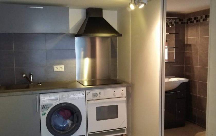 Location de vacances - Villa à Prunelli-di-Fiumorbo - petit coin cuisine et salle d'eau du studio