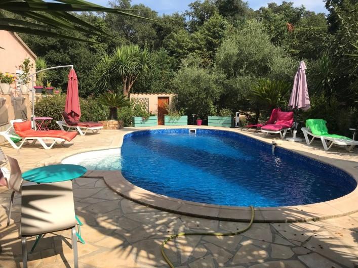 Location de vacances - Villa à Prunelli-di-Fiumorbo - piscine vue du jardin