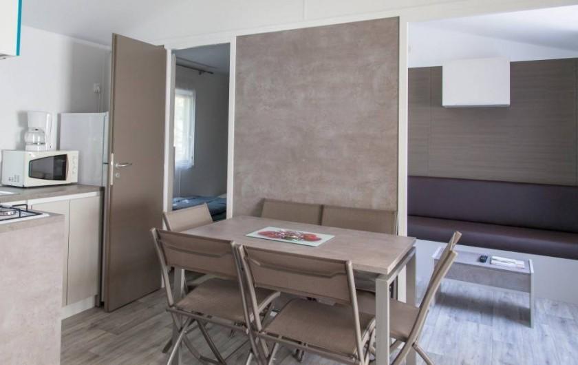 Location de vacances - Bungalow - Mobilhome à Landevieille - Intérieur location de mobil-home Modulo.