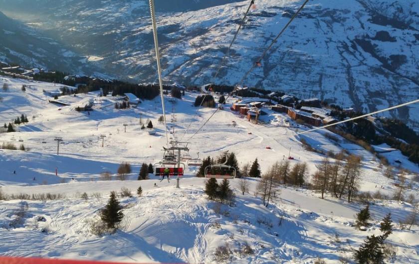 Location de vacances - Appartement à Arc 1800 - vue des Arcs 1800 depuis cabine TRANSAC