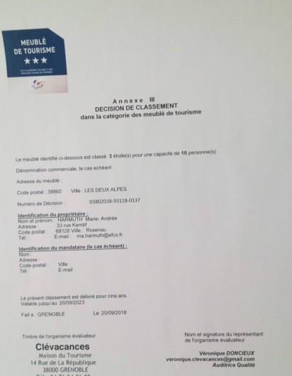 Location de vacances - Appartement à Les Deux Alpes - Classé  Meublé de Tourisme 3*