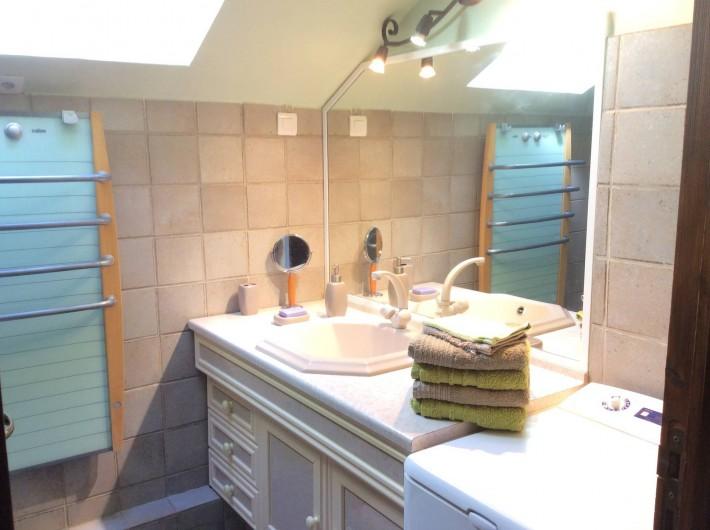 Location de vacances - Chalet à Barcelonnette - Salle de bain : baignoire et lavabo, sèche cheveux et sèche serviettes.