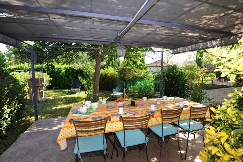 Location de vacances - Gîte à Rigarda - le repas sous la pergola
