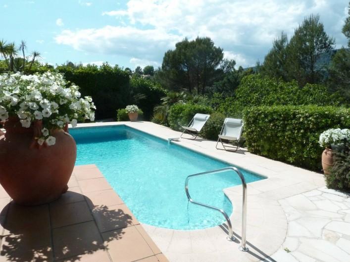 Location de vacances - Villa à Peymeinade - vue piscine de la terrasse couverte