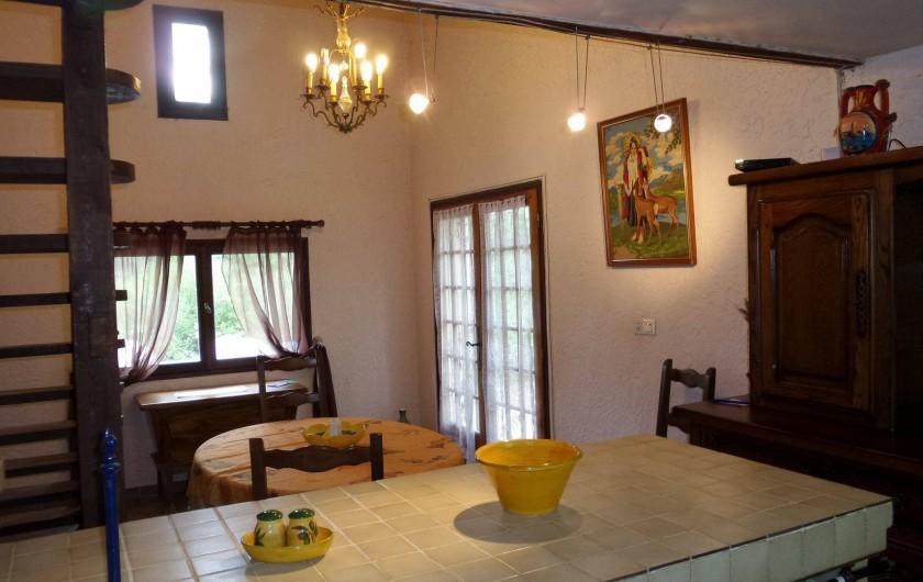 Location de vacances - Villa à Draguignan - Le coin repas  avec à droite la porte d'entrée de la villa.