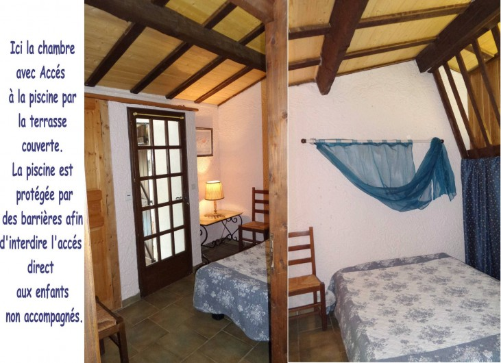 Location de vacances - Villa à Draguignan - Deux vue de la chambre N°1 donnant accès à la terrasse couverte vue N°6