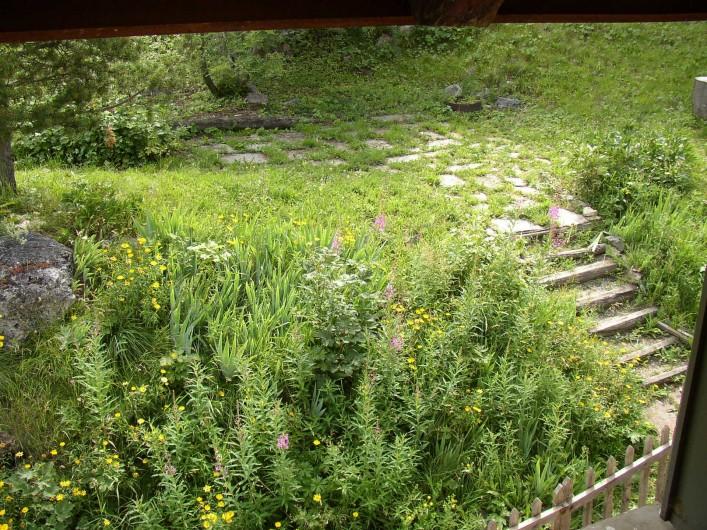 Location de vacances - Appartement à Le Monêtier-les-Bains - escalier qui mène à la terrasse derrière la maison