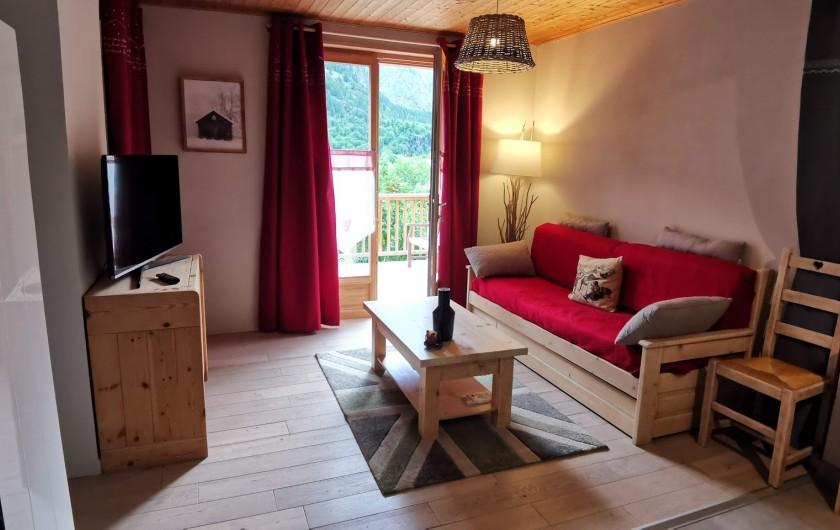 Location de vacances - Appartement à Pelvoux - Salon avec lit gigogne, accès Terrasse