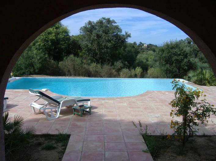 Location de vacances - Villa à Ramatuelle - Vue de la piscine depuis la terrasse couverte du bas.