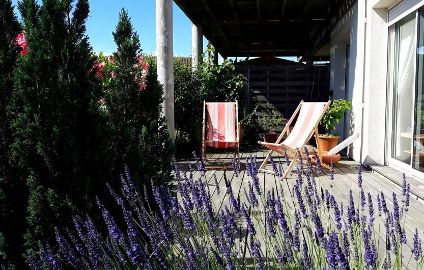 Location de vacances - Chambre d'hôtes à Gujan-Mestras - La terrasse entourée de fleurs et de végétaux