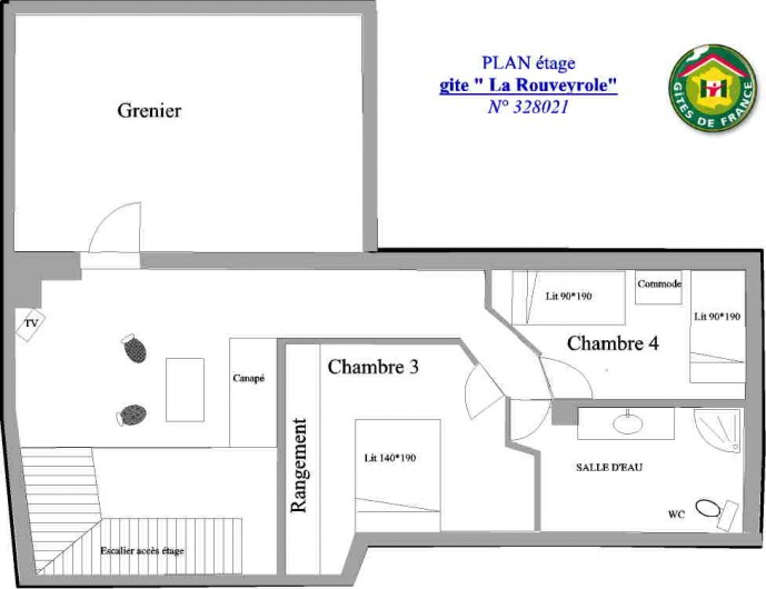 Location de vacances - Gîte à Vagnas - Plan de l'étage
