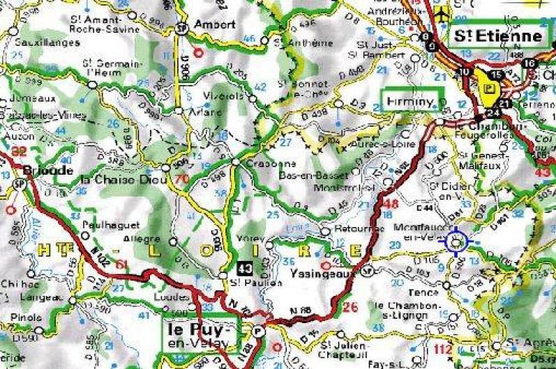 Location de vacances - Gîte à Raucoules - Situation:45km du Puy en Velay et45km de St Etienne
