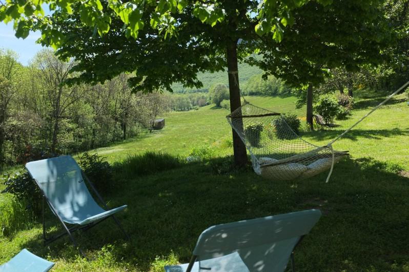 Location de vacances - Mas à Courniou - jardin et hamac