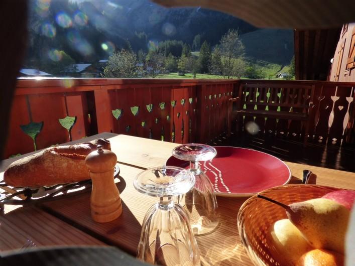 Location de vacances - Appartement à Pralognan-la-Vanoise - Notre terrasse sans vis-à-vis, face à la montagne