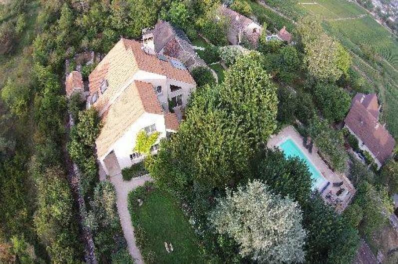 Location de vacances - Chambre d'hôtes à Beaune - Maison La Terre d'Or au dessus des vignes de Beaune: jardins, piscine, jacuzzi
