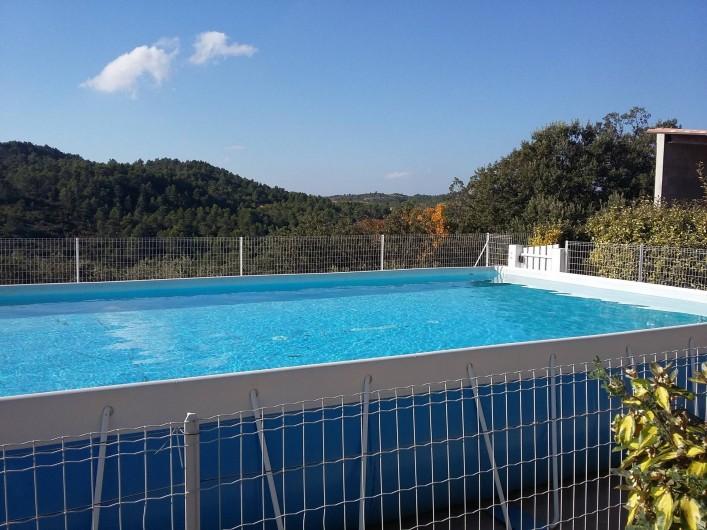 Location de vacances - Gîte à Bize-Minervois - piscine hors sol(7x4m) clôturée avec vue à droite sur l'auvent de l'abri voiture